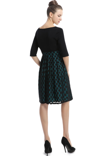 "Kimi + Kai Maternity ""Liliana"" Polka Dot Lace Dress"