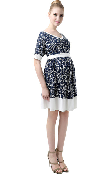 "Kimi + Kai Maternity ""Aleiah"" Batwing Sleeve Printed Dress"