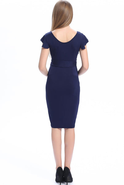 "Kimi + Kai Maternity ""Lucile"" Ruffle Sleeve Self Tie Bodycon Dress"