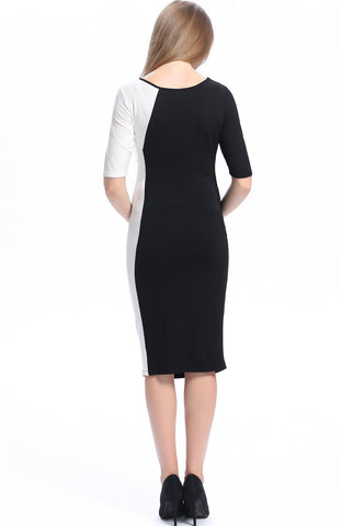 "Kimi + Kai Maternity ""Daphne"" Colorblock Button Down Front Bodycon Dress"