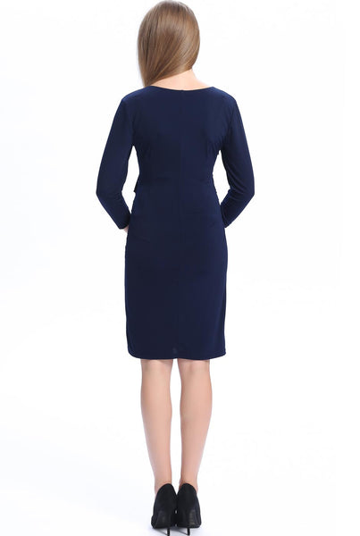 "Kimi + Kai Maternity ""Gypsy"" V-Neck 3/4 Sleeve Side Ruffle Dress"