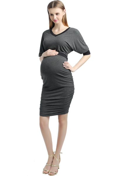 "Kimi + Kai Maternity ""Alexa"" V-Neck Batwing Sleeve Midi Dress"