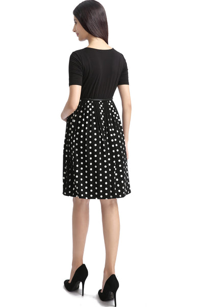 "Kimi + Kai Maternity ""Emmy"" Polka Dot Pleated Midi Dress"