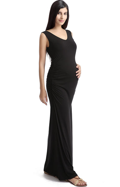 "Kimi + Kai Maternity ""Jane"" V-Neck Lace Back Maxi Dress"