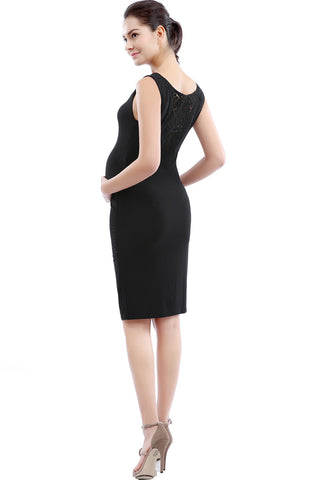 "Kimi + Kai Maternity ""Alexandria"" Cowl Neck Lace Back Dress"