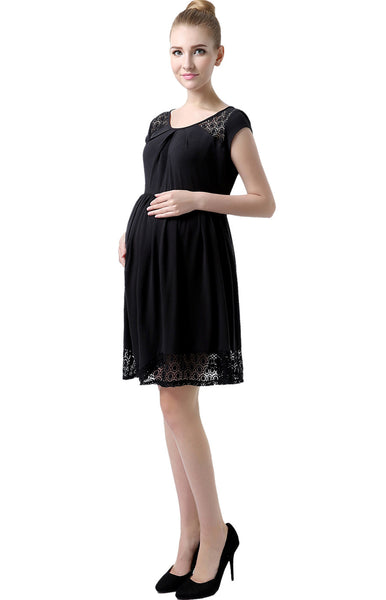 "Kimi + Kai Maternity ""Hazel"" Lacey Accent Skater Dress"