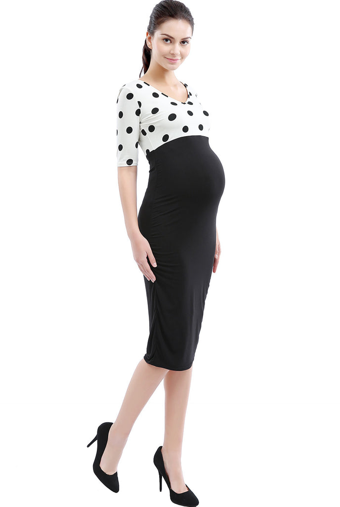 "Kimi + Kai Maternity ""Farrah"" Polka Dot Contrast Body Con Dress"