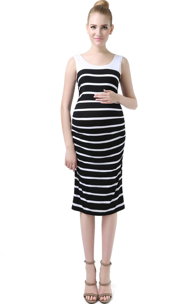"Kimi + Kai Maternity ""Jackie"" Striped Sleeveless Ruched Midi Dress"