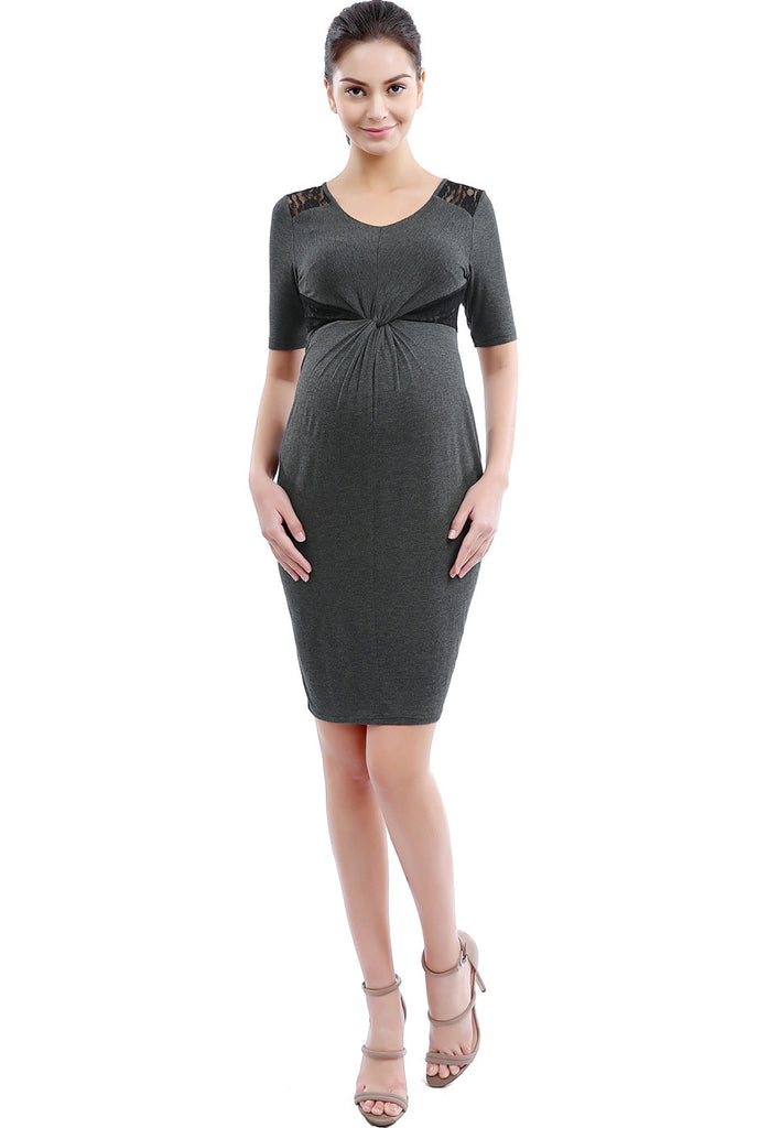 "Kimi + Kai Maternity ""Kara"" Knot Front Lace Accent Dress"
