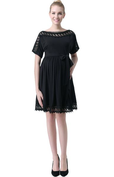 "Kimi + Kai Maternity ""Elsie"" Crochet Lace Trim Waist Tie Dress"
