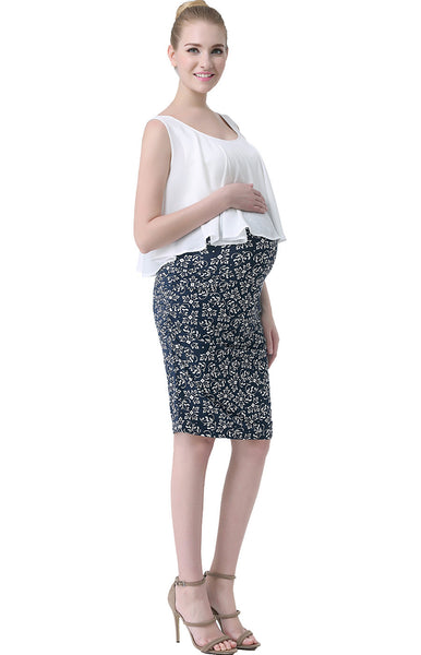 kimi kai maternity talia flounce floral print double layer dress