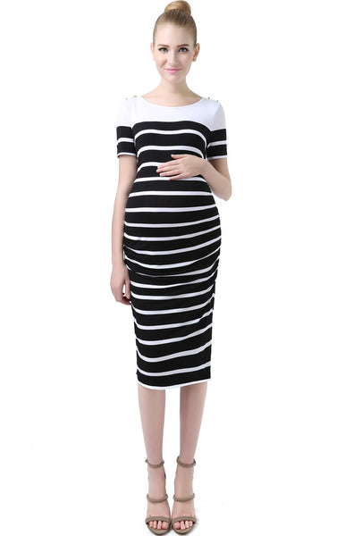 "Kimi + Kai Maternity ""Marina"" Boat Neck Striped Dress"