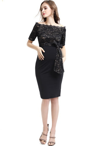 "Kimi + Kai Maternity ""Madeline"" Off Shoulder Lace Top Bodycon Dress"