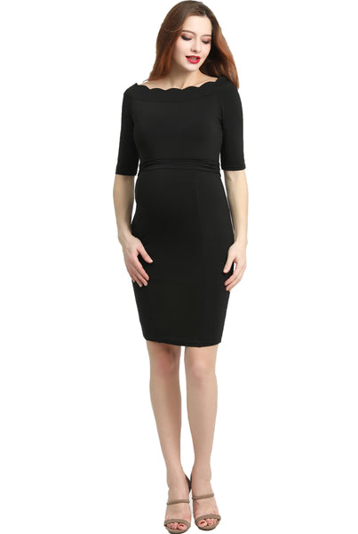 "Kimi + Kai Maternity ""Kendall"" Off-Shoulder Midi Body Con Dress"