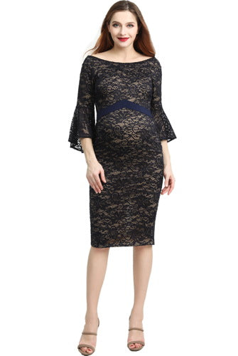 "Kimi + Kai Maternity ""Lena"" Off-Shoulder Lace Bodycon Dress"