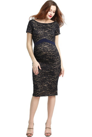"Kimi + Kai Maternity ""Kim"" Off-Shoulder Lace Bodycon Dress"