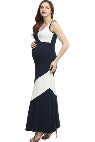 "Kimi + Kai Maternity ""Kiersten"" Colorblock Maxi Dress"