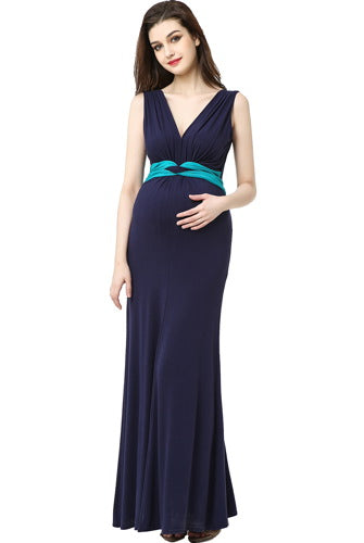 "Kimi + Kai Maternity ""Scarlett"" Colorblock Maxi Dress"