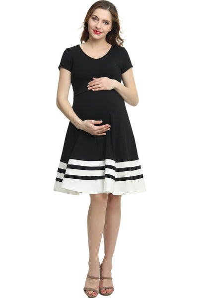 "Kimi + Kai Maternity ""Theresa"" Colorblock Skater Dress"