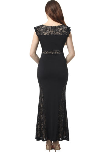 Kimi + Kai Maternity ''Audrey'' Lace Accent Maxi Dress