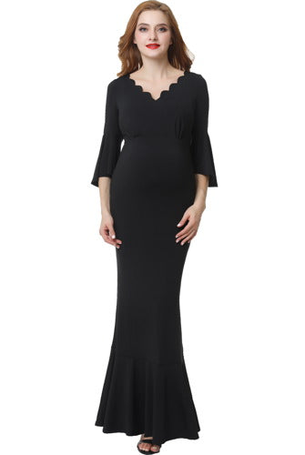 "Kimi + Kai Maternity ""Maisie"" Scalloped V-Neck Mermaid Maxi Dress"