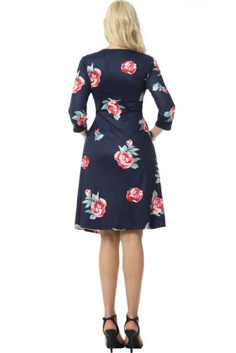 "Kimi + Kai Maternity ""Althea"" Faux Wrap Nursing Dress - Plus"