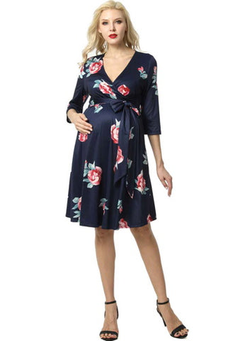 "Kimi + Kai Maternity ""Althea"" Faux Wrap Nursing Dress"