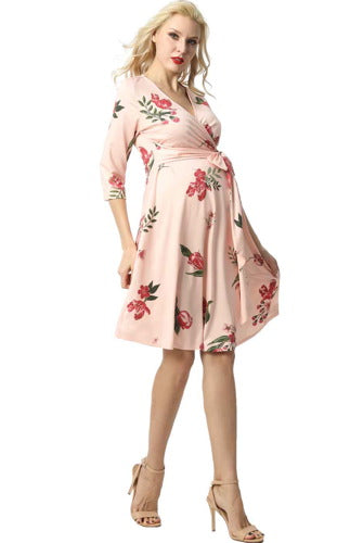"Kimi + Kai Maternity ""Ashley"" Faux Wrap Nursing Dress"