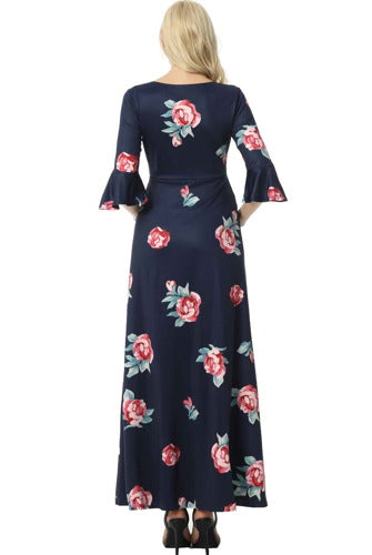 "Kimi + Kai Maternity ""Louisa"" Floral Print Maxi Dress"
