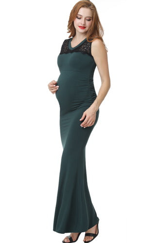 "Kimi + Kai Maternity ""Tilda"" Lace Trim Mermaid Maxi Dress"
