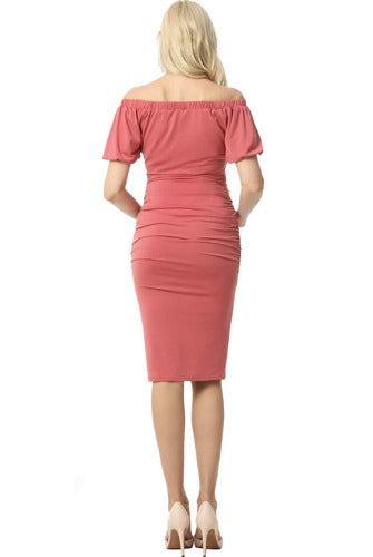 "Kimi + Kai Maternity ""Becka"" Convertible Shoulder Midi Dress"