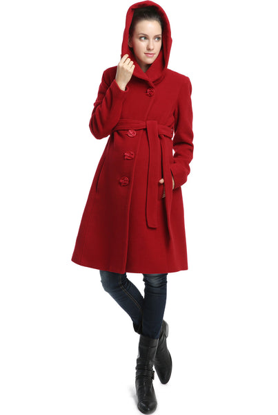 "Kimi + Kai Maternity ""Lora"" Wool Blend Belted Coat with Hood"