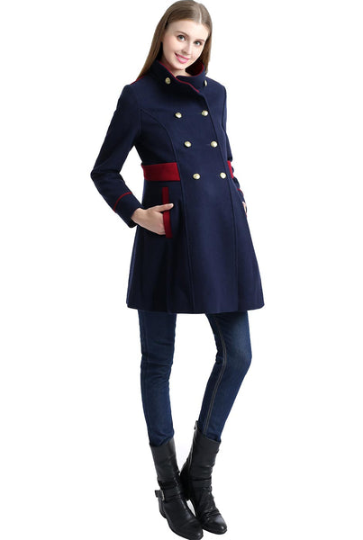 "Kimi + Kai Maternity ""Pan"" Wool Blend Military Inspired Pea Coat"