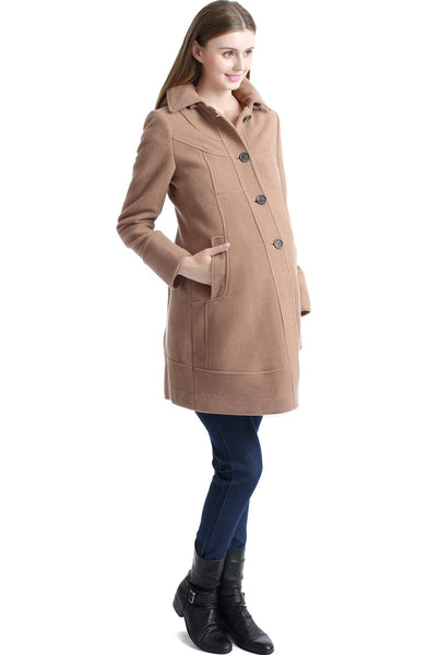 "Kimi + Kai Maternity ""Cassidy"" Wool Blend Walking Coat"