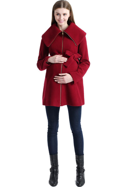 "Kimi + Kai Maternity ""Mia"" Wool Blend Fold Collar Zip Up Coat"