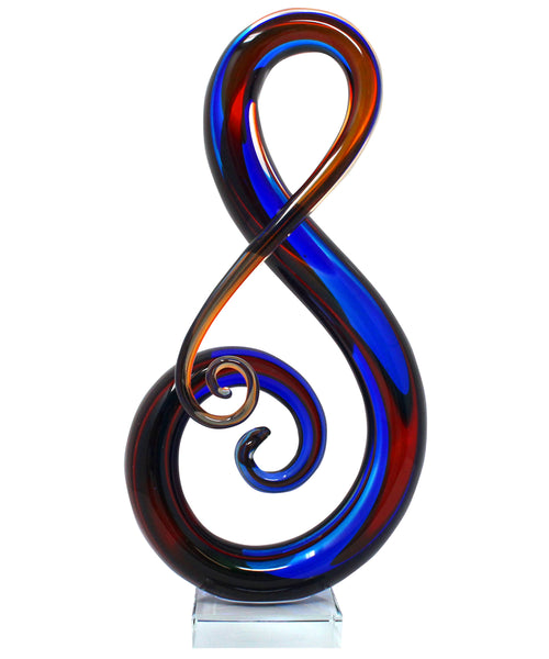 "Luxury Lane Hand Blown ""Treble"" Sommerso Art Glass Sculpture 16 inch tall"
