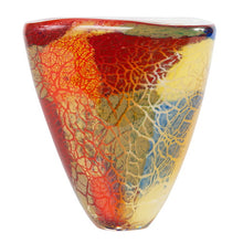 "Load image into Gallery viewer, Luxury Lane Hand Blown Multicolor Abstract Art Glass Vase 7"" tall"