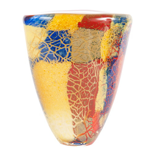 "Luxury Lane Hand Blown Multicolor Abstract Art Glass Vase 7"" tall"