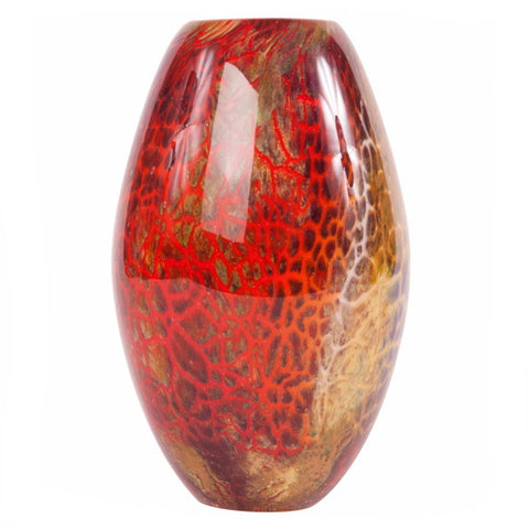 "Luxury Lane Hand Blown Multicolor Abstract Art Glass Vase 9.5"" tall"