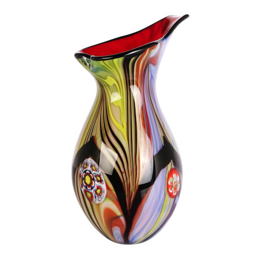 "Luxury Lane Hand Blown Abstract Teardrop Art Glass Vase with Angled Lip 13.5"" tall"