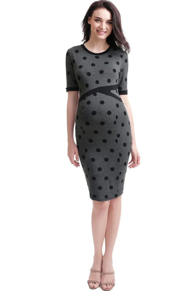 "Kimi + Kai Maternity ""Ella"" Colorblock Polka Dot Bodycon Dress"