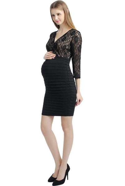 "Kimi + Kai Maternity ""Greta"" V-Neck Lace Bodice Banded Sheath Dress"