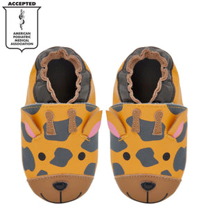 Kimi + Kai Unisex Soft Sole Leather Baby Shoes - Giraffe