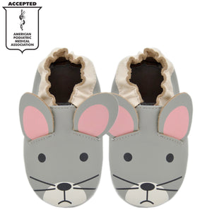 Kimi + Kai Unisex Soft Sole Leather Baby Shoes - Mouse