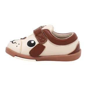 Kimi + Kai Unisex Sneaker Shoes (First Walker & Toddler) - Playful Puppy Beige
