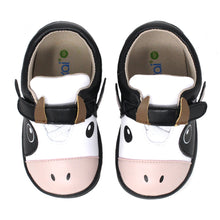 Load image into Gallery viewer, Kimi + Kai Unisex Sneaker Shoes (First Walker & Toddler) - Happy Cow Black White