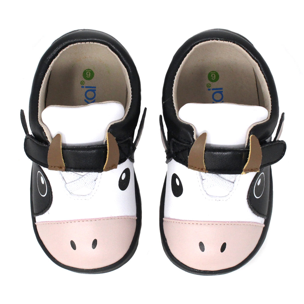 Kimi + Kai Unisex Sneaker Shoes (First Walker & Toddler) - Happy Cow Black White