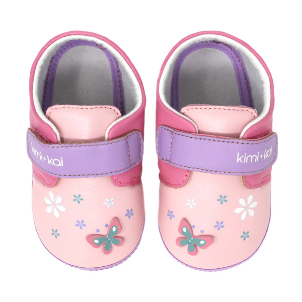 Kimi + Kai Girls Soft Sole Lambskin Leather Shoes - Butterfly (First Walker & Toddler)