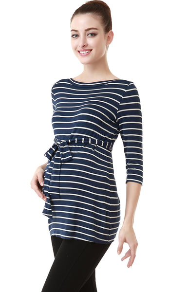 "Kimi + Kai ""Whitney"" Striped Boat Neck Maternity Top"