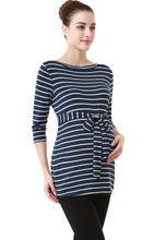"Load image into Gallery viewer, Kimi + Kai ""Whitney"" Striped Boat Neck Maternity Top"